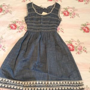 Max Studio chambray sundress with white lace trim